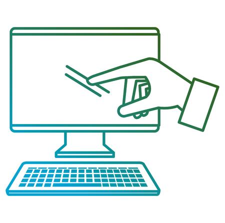 computer desktop with hand user vector illustration design Stok Fotoğraf - 104138469