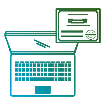 education online with laptop and diploma vector illustration design