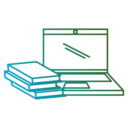 education text books with laptop vector illustration design