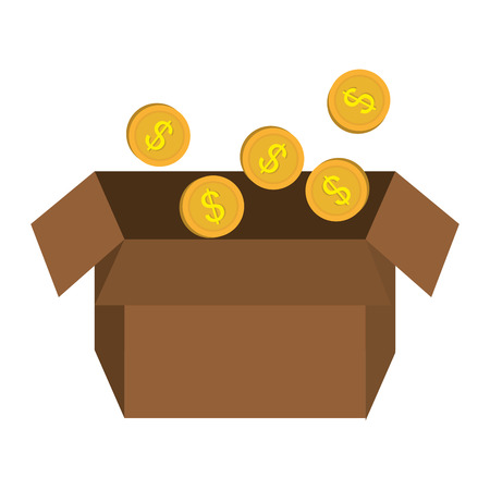 coins money in box vector illustration design Ilustração