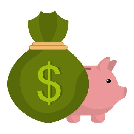 money bag with piggy savings vector illustration design Illustration
