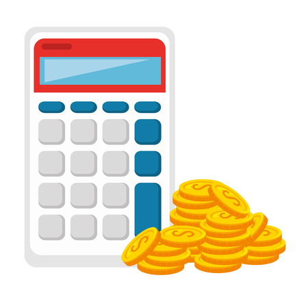 coins money with calculator vector illustration design Vettoriali