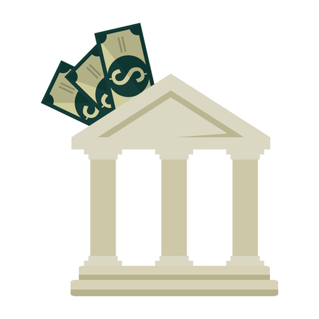 bank building with bills vector illustration design