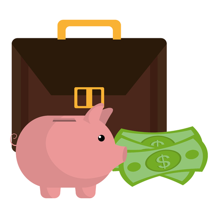 portfolio with money dollars vector illustration design
