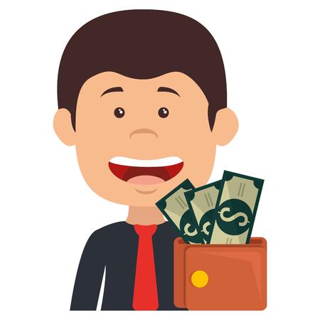 businessman with wallet money vector illustration design