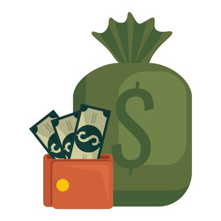 money bag with bills and wallet vector illustration design