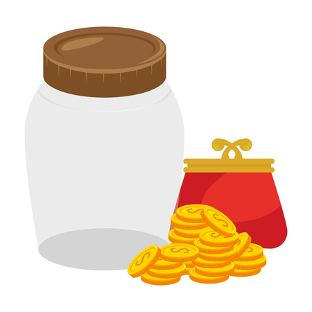 coins money with wallet and jar vector illustration design Ilustrace