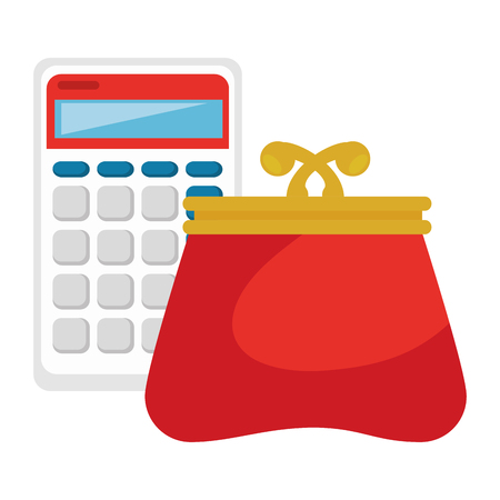 calculator with wallet icon vector illustration design Standard-Bild - 104151144