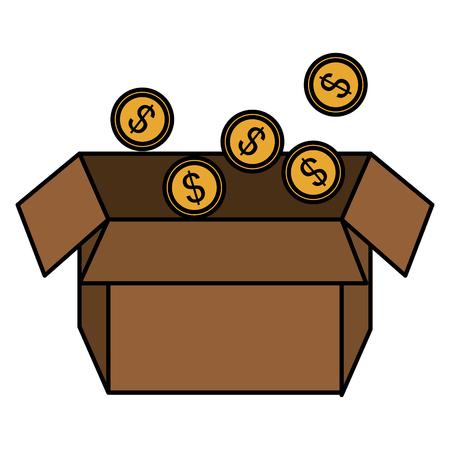 coins money in box vector illustration design Ilustrace