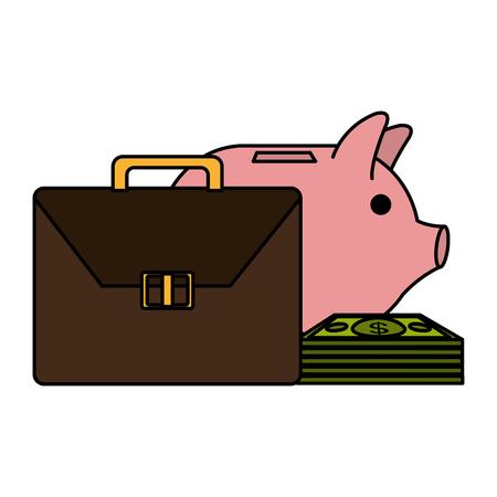 portfolio with money dollars vector illustration design