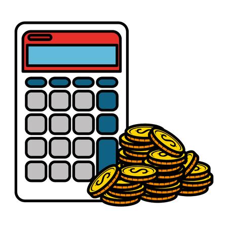 Monedas de dinero con calculadora, diseño de ilustraciones vectoriales