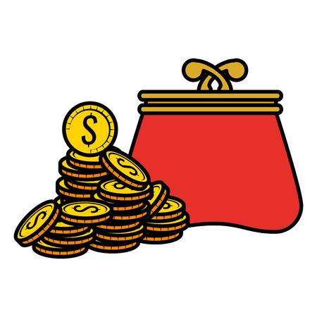 Monedas de dinero con billetera, diseño de ilustraciones vectoriales