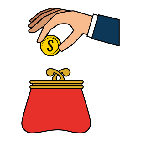 hand with coins and wallet vector illustration design