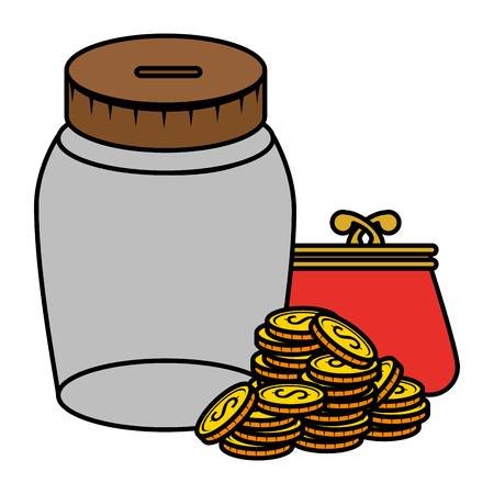 coins money with wallet and jar vector illustration design Ilustração