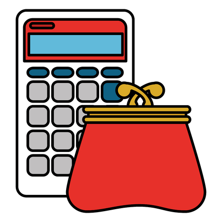 calculator with wallet icon vector illustration design
