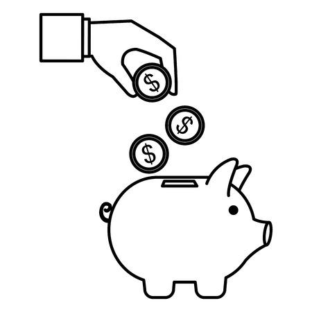 hand with coins and piggy savings vector illustration design Ilustração