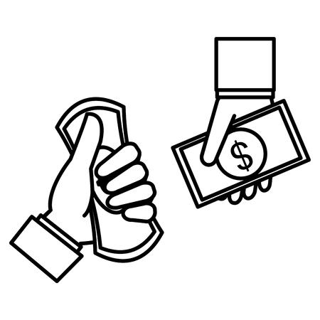 hand with bills money vector illustration design