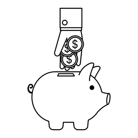 hand with coins and piggy savings vector illustration design  イラスト・ベクター素材