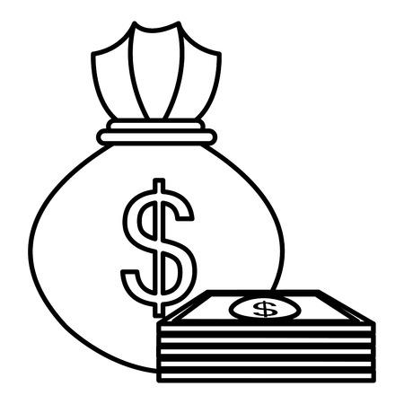 money bag with bills vector illustration design