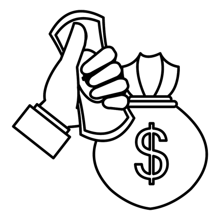 hand with bills and money bag vector illustration design