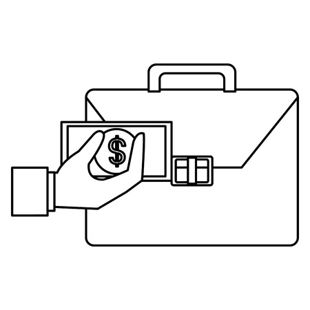 hand with bills and portfolio vector illustration design Stock Illustratie