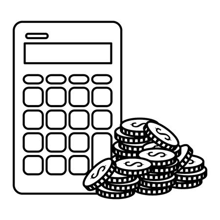 coins money with calculator vector illustration design  イラスト・ベクター素材