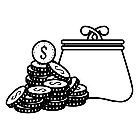 coins money with wallet vector illustration design Ilustração