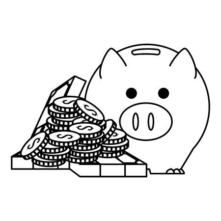 piggy savings economy icons vector illustration design