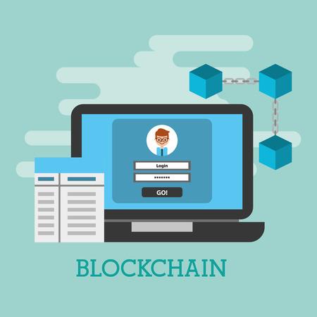 laptop access internet login technology blockchain vector illustration