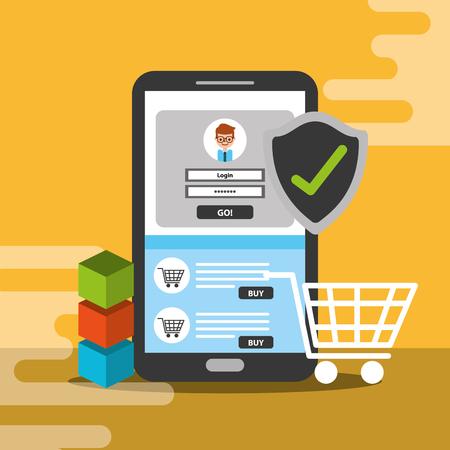 smartphone online shopping trade blockchain vector illustration