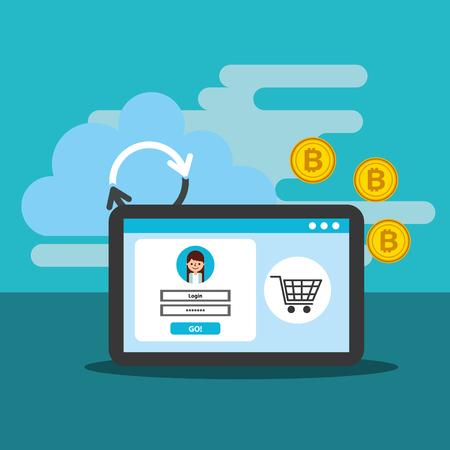 online shopping bitcoin cloud reload digital vector illustration Ilustração