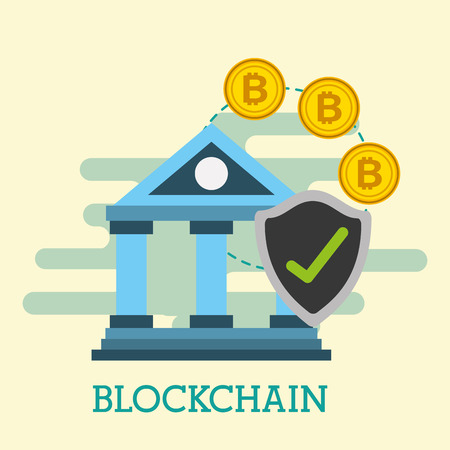 bank financial economy bitcoins blockhain vector illustration
