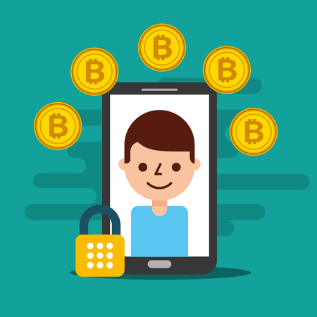 smartphone man on screen cyber security bitcoin vector illustration