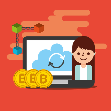 business woman laptop cloud refresh bitcoin blockchain vector illustration