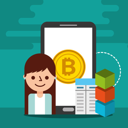 smartphone business woman document blockchain vector illustration