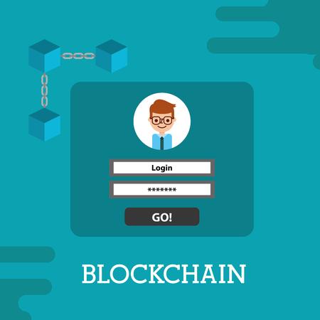 blockchain login password cyber security vector illustration
