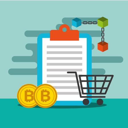 clipboard shopping cart and bitcoin blockchain vector illustration