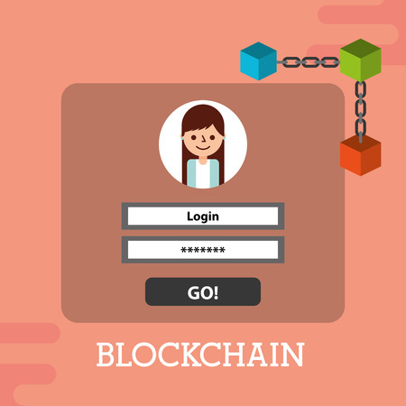 blockchain login password internet security vector illustration 向量圖像