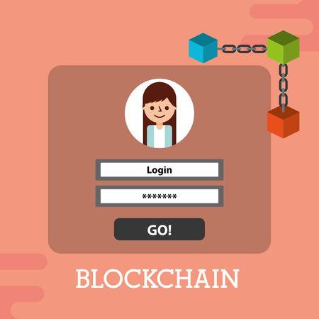blockchain login password internet security vector illustration Illustration
