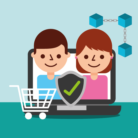 online shopping people customer blockchain vector illustration