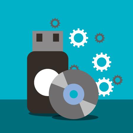 usb compact disk backup memory vector illustration