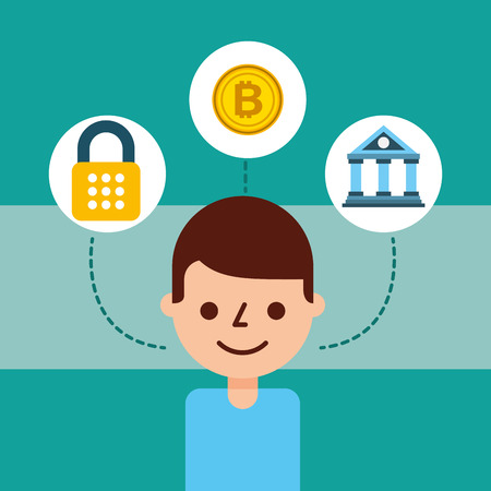 man cartoon avatar bank bitcoin cyber security vector illustration