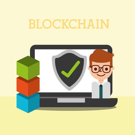 businessman business laptop blockchain  check mark  vector illustration