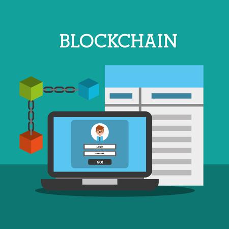 blockchain wallet password contract internet vector illustration