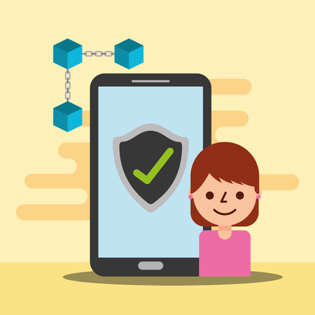 woman character smartphone blockchain  check mark  vector illustration