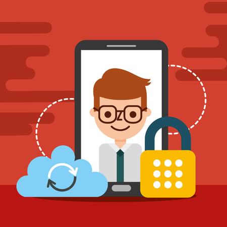 businessman smartphone cloud cyber security vector illustration Illustration