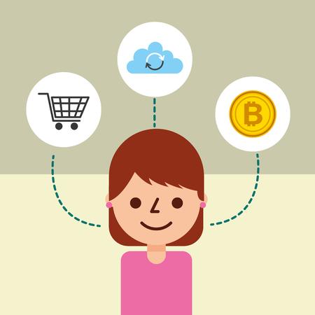 woman cartoon character online shopping cloud data bitcoin vector illustration Stock Vector - 115098965