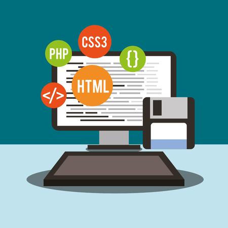 computer floppy language program coding vector illustration