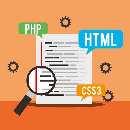 program coding development language search vector illustration 写真素材 - 115098968