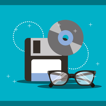 program coding floppy compact disk glasses vector illustration Illustration
